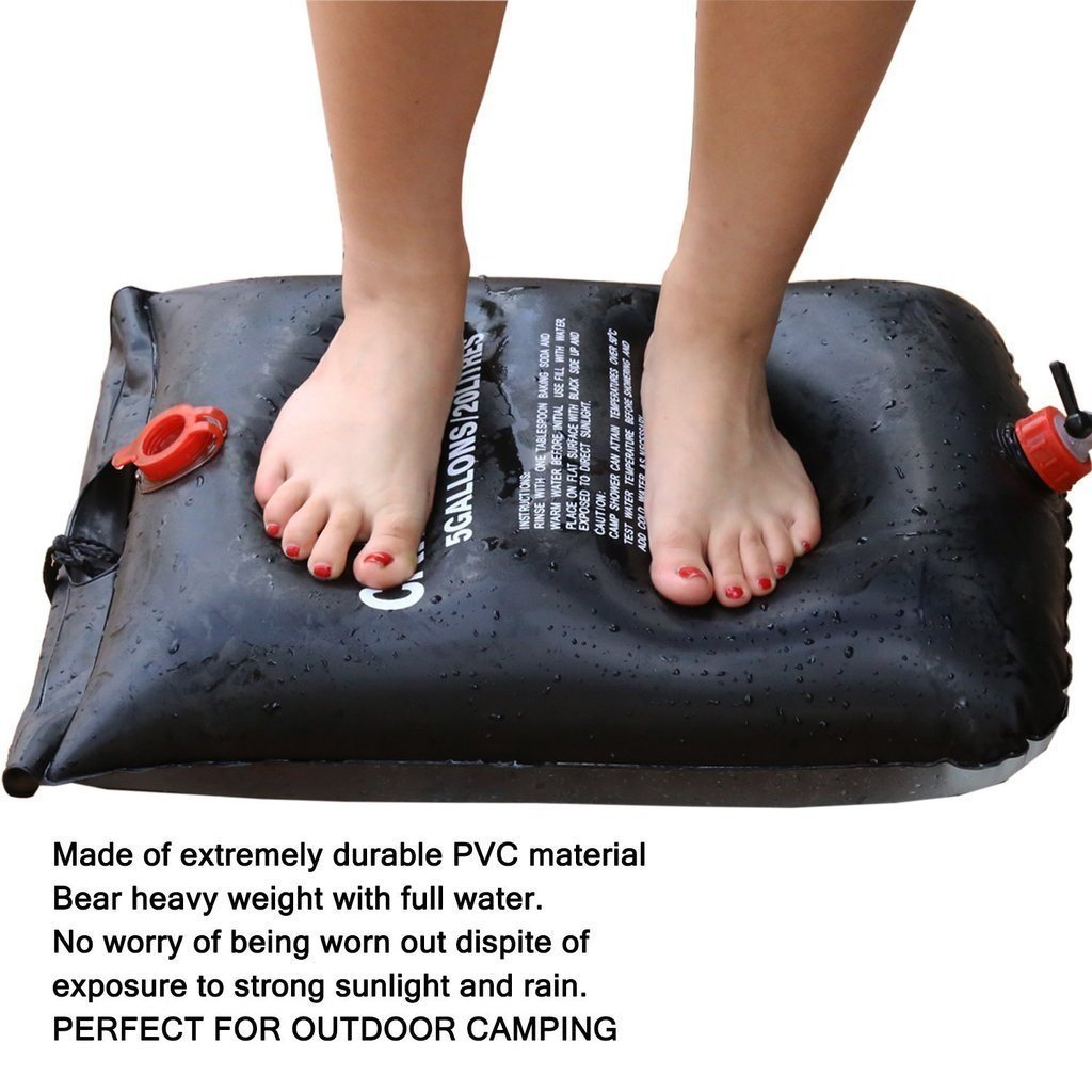 Solar Camping Shower Bag - 5 gallons/20L Solar Heating Convenient Camping Shower Bag Portable Outdoor Eco friendly Boating Shower