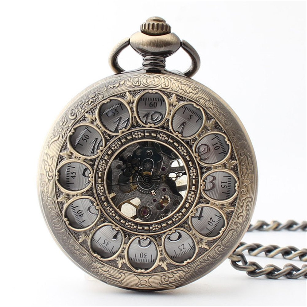 Zxcvlina Classic Smooth Creative Hollowed Retro Mechanical Pocket Watch Bronze Unisex Flower Carved Pocket Watch with Chain Suitable for Gift Giving