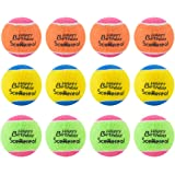 Squeaky Tennis Balls for Dogs - SCENEREAL 12 Pack Dog Toys Premium Balls Set Colorful Happy Birthday Interactive for Pet Training 2.5""