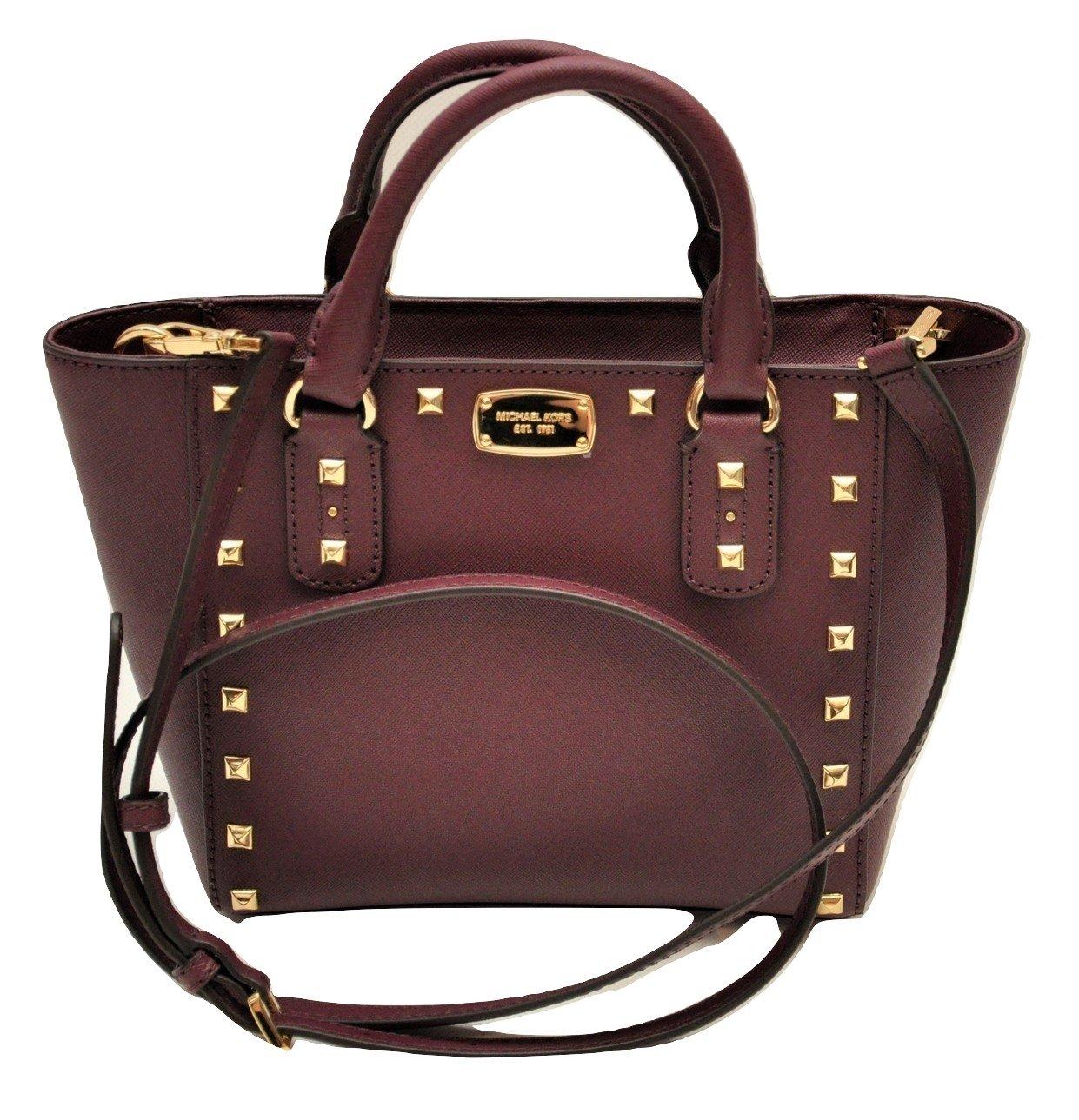 Michael Kors Sandrine Stud Small Crossbody Saffiano Leather Bag Handbag (Plum)