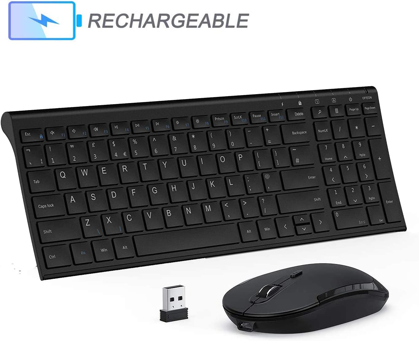 Seenda 2.4G Rechargeable Ultra Slim Thin Wireless Keyboard Mouse Combo Metal Keyboard Silent Mouse with Number Pad for PC Laptops Smart TV Windows QWERTY UK Layout Wireless Keyboard and Mouse