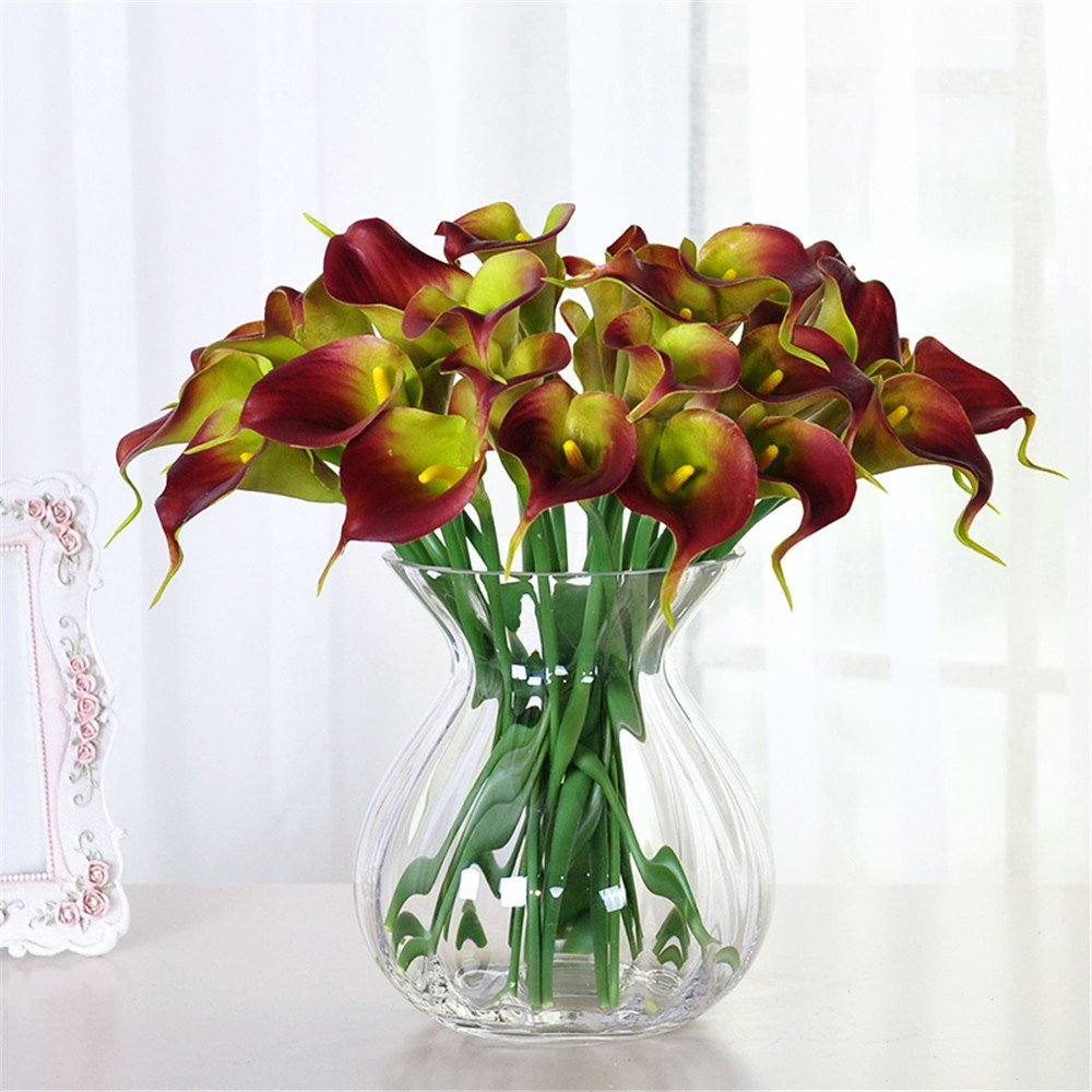 SituMi Artificial Flowers Glass VaseHome Decor,RedCalla Lily by Artificial Flower SituMi