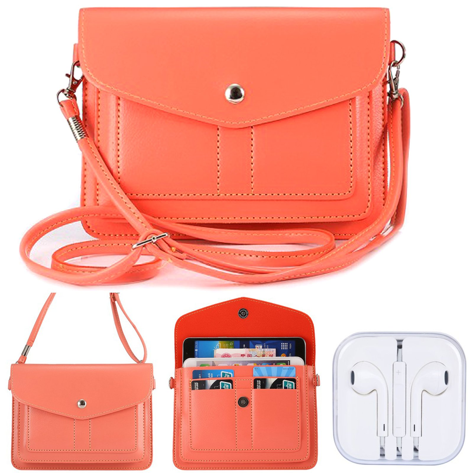 Dteck Phone Bag/Pouch, (TM) Multipurpose Convenient Crossbody Purse with Shoulder Strap for Apple iPhone & Samsung Galaxy Series and other Smartphones Under 6.3 inch - H-Pink