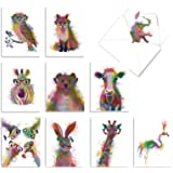 Funky Rainbow Wildlife, Box of 10 Blank Watercolor Note Cards with Envelopes - All Occasion Blank Greeting Cards - Cute Anima