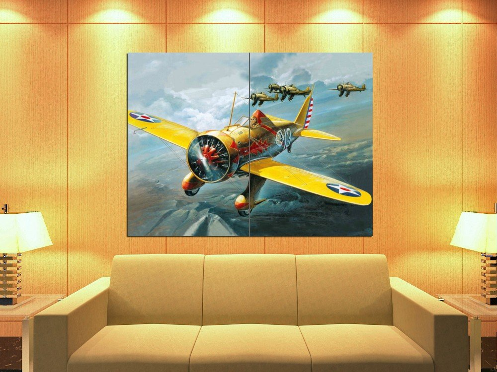 Amazon.com: Boeing P-26A Peashooter Aircraft Painting Art 47x35 Huge ...