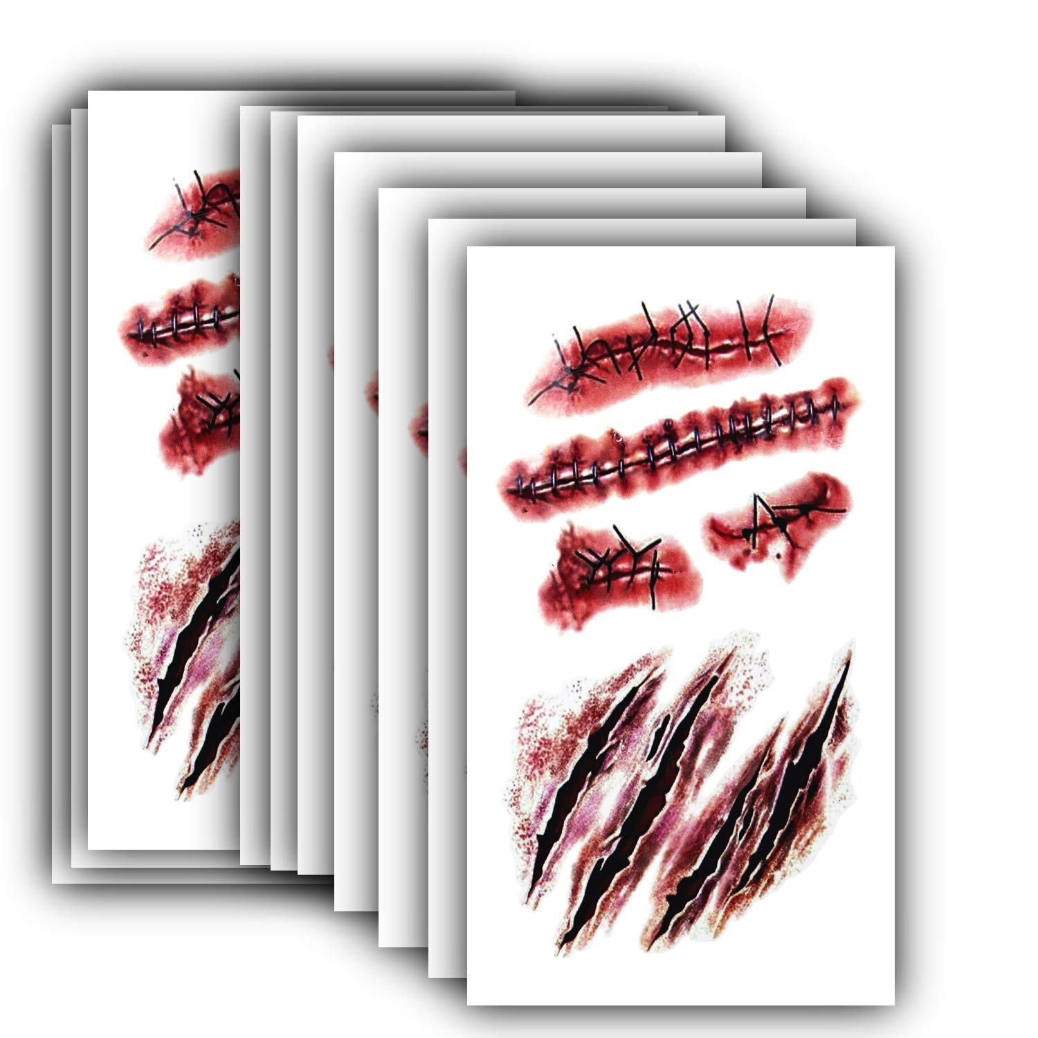10pcs Horror Realistic Fake Bloody Wound Stitch Scar Scab Waterproof Temporary Tattoo Sticker Halloween Masquerade Prank Makeup Props (10)