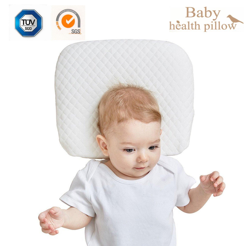Almohada de recién nacido para cabeza plana Bebé durmiendo almohada de forma Mantener la cabeza de infante redonda, uso en la cama Cuna o cuna, extra extraíble cubierta de algodón SIKAINI