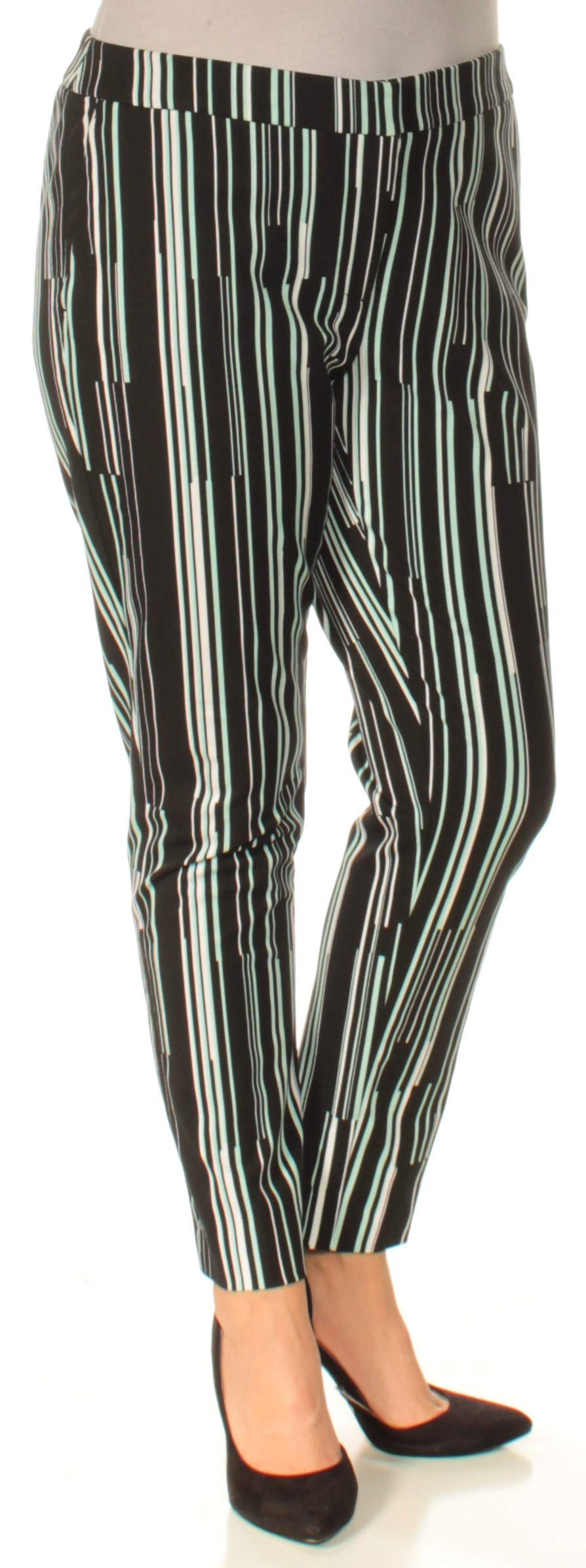Alfani Womens Striped Ankle Skinny Pants Black 14