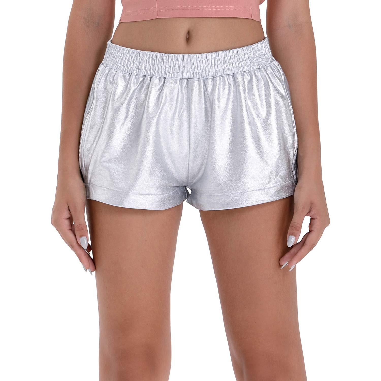 Women Shiny Metallic Hot Shorts Summer Casual Yoga Pants with Elastic Waistband