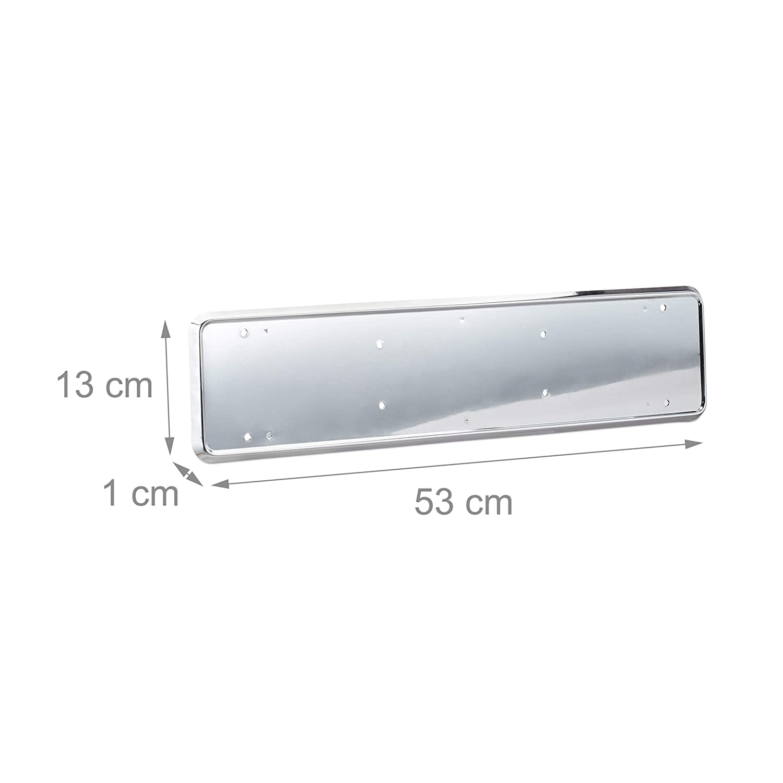 Relaxdays License Plate Holder Set of 2 Frame Registration Plate Bracket EU Standard Chrome Look Silver