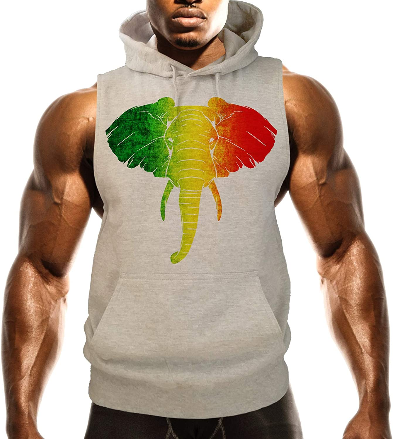 Mens Rasta Elephant Head B1391 Gray Fleece Vest Hoodie