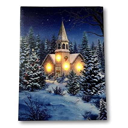 banberry designs christmas wall art church at night picture with led lights winter scene