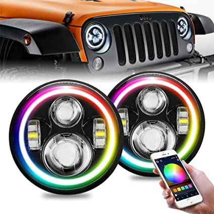 Jeep Halo Headlights >> Firebug 7 Jeep Led Headlights With Color Changing Halo Ring Bluetooth Remote Control For Jeep Wrangler Jk Lj Cj Tj Hummber H1 H2 Pair