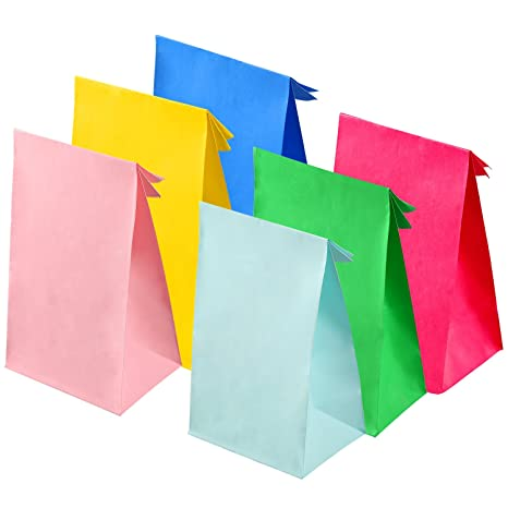 Coobey 30 Pieces Party Bags Paper Bags Grocery Bags Craft Paper Bags Flat Bottom Paper Bags for...