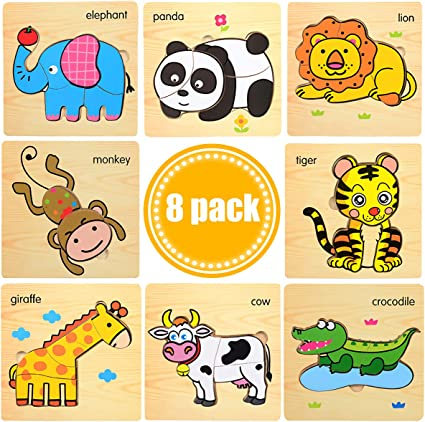 Wooden Jigsaw Cartoon Puzzle Toy Preschool Learning Educational Toy for Kids