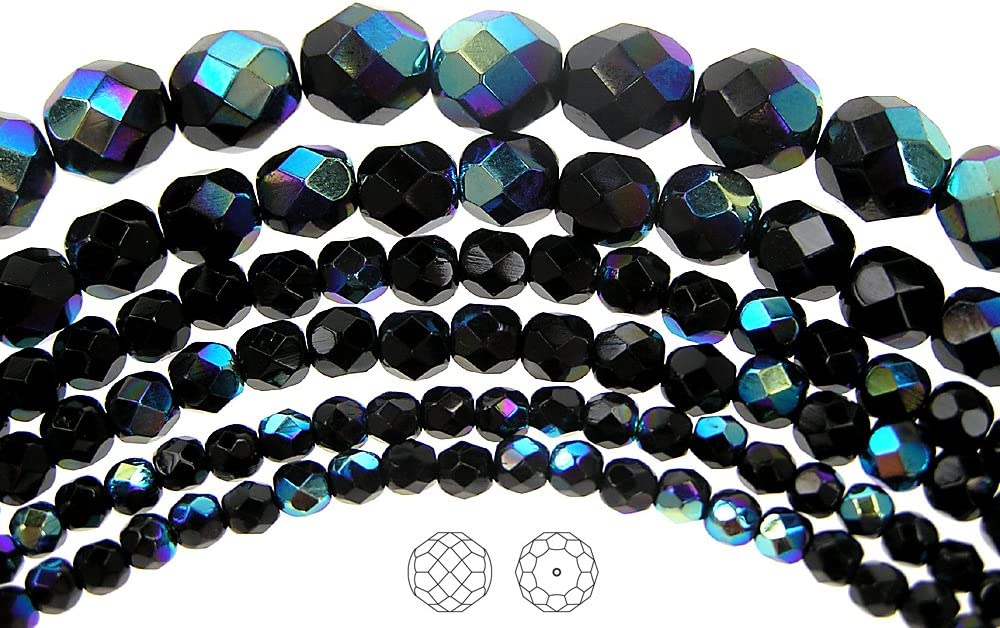 16 Inch Strand Preciosa Czech Fire Polished Glass Faceted Round Beads 6mm