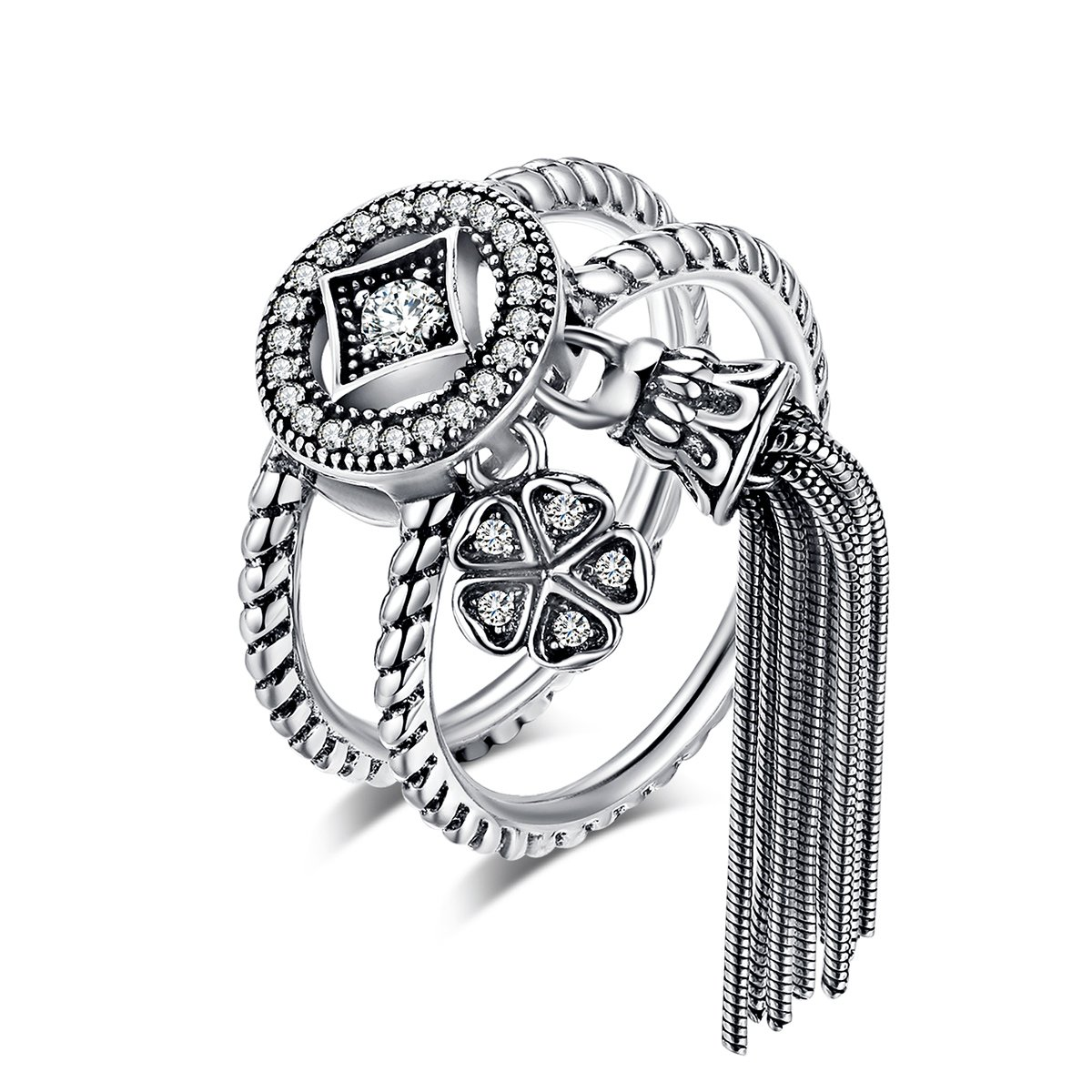 Everbling Double Layer Round & Geometric Long Tassel 925 Sterling Silver Ring, Clear CZ