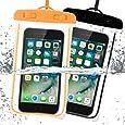 Ostart 完全防水ケース スマホ用 「2点セット」 携帯電話防水袋 IPX8防水規格 高感度PVCタッチスクリーン iphone 7,7 Plus,6S,6S Plus, Android 6インチ以下全機種対応 ネックストラップ付 水中撮影 海/釣り/お風呂/温泉/水泳など適用 夜光設計(2 Pack, オレンジ&ブラック)
