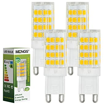 MENGS® Pack de 4 Bombilla lámpara LED 5 Watt G9, 51x 2835 SMD,