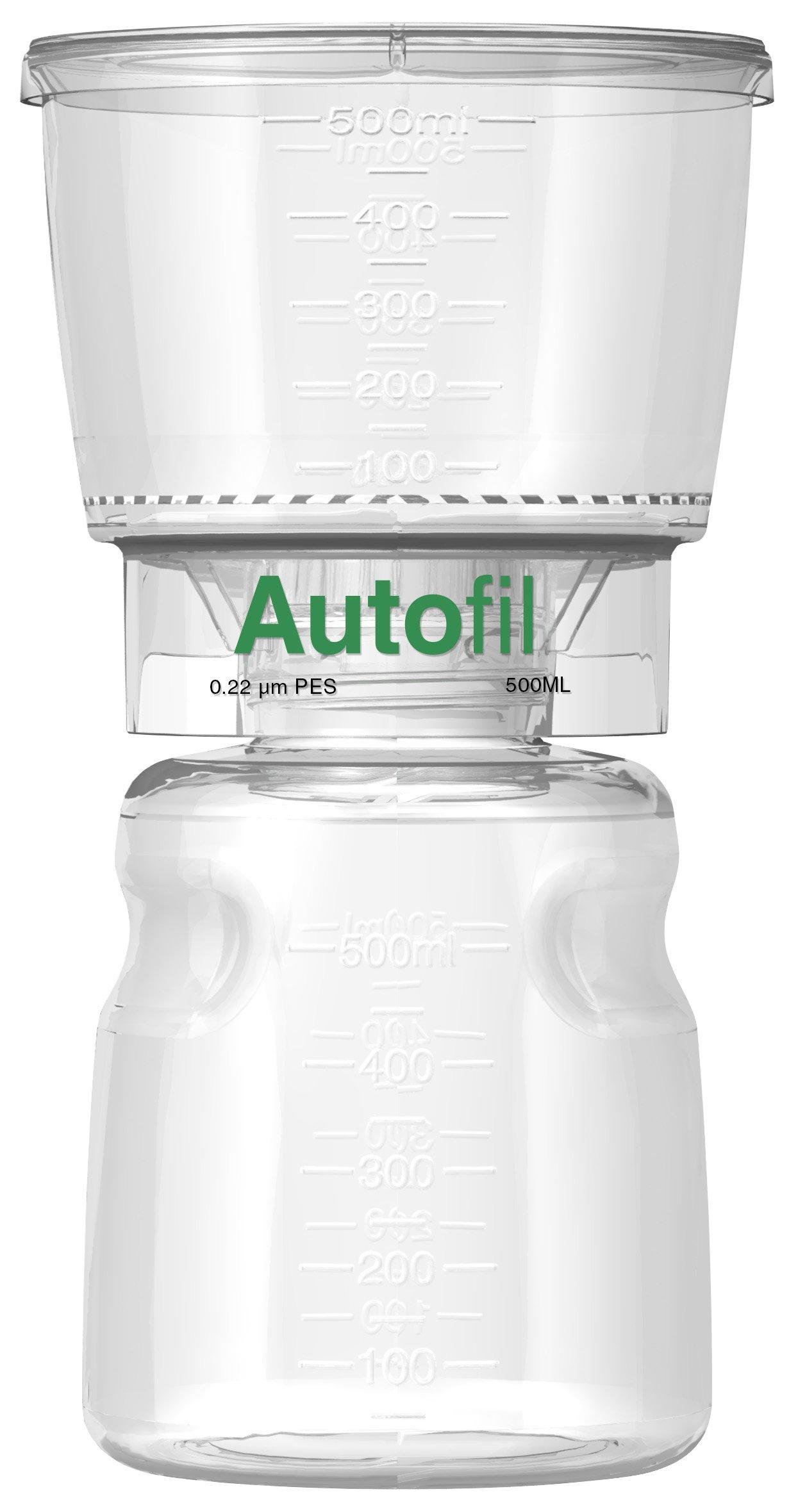 Autofil Sterile Disposable Vacuum Filter Units with 0.2um Sterilizing PES Membrane, 500mL, 12/CS by Foxx Life Sciences