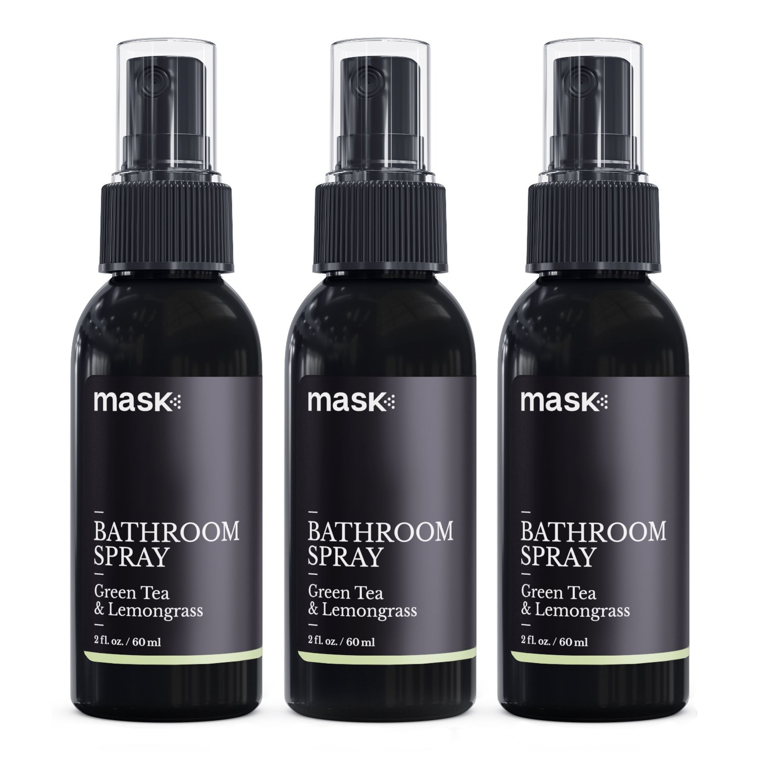 Mask Bathroom Spray 2oz (3 Pack), Green Tea & Lemongrass Fragrance, Toilet Spray, Before You Go Deodorizer, Best Value Air Freshener Poo Poop Spray, Perfect for Travel!