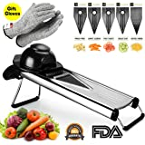 V Blade Vegetable Mandoline Slicer, Zacfton Fruits and Vegetable Cutter - Stainless Steel Vegetable Slicer Chopper Cheese Grater, Julienne Cutter Includes Cut-Resistant Gloves and 5 Different Inserts