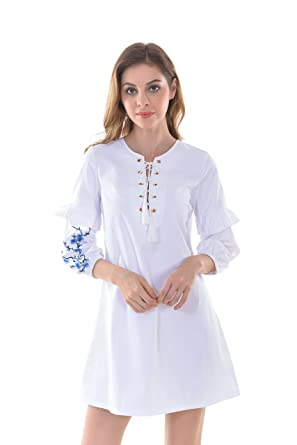 Apperloth Womens Vintage Flower Embroidered Ruffles Lantern Sleeve A Line  Mini Dress Tops 4bb00584b
