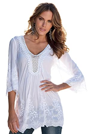 welvt mujeres de bordado de flores ribete Crochet Cuello de pico Túnica Blusa Camiseta Top blanco: Amazon.es: Ropa y accesorios
