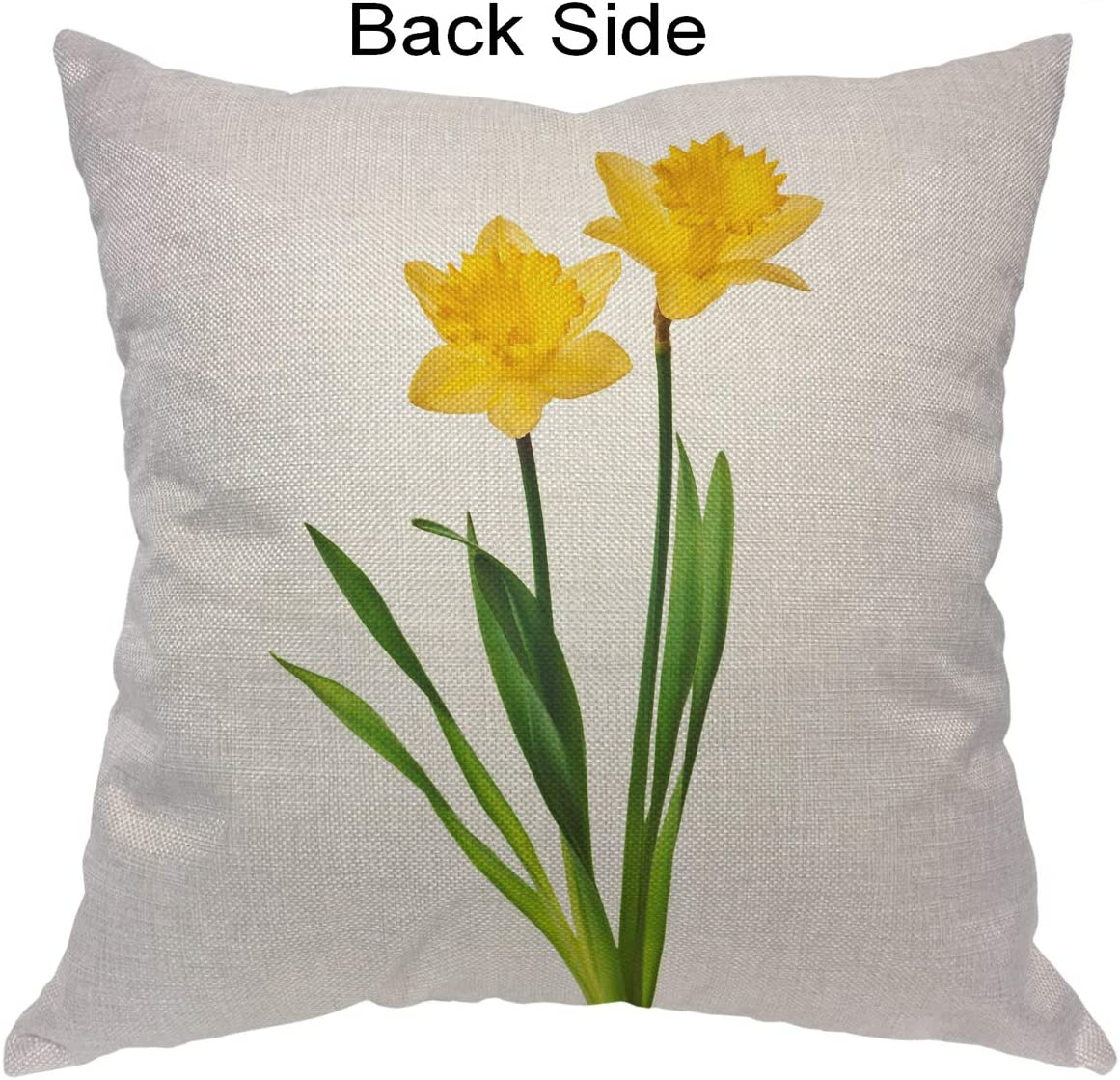 Amazon Com Moslion Daffodil Pillows Nature Botanical Narcissus Flower Blossom With Leaf In Spring Yellow Green Pillow Cover Decorative Square Accent Cotton Linen Throw Pillow Case 20x20 Inch For Sofa Chair Home