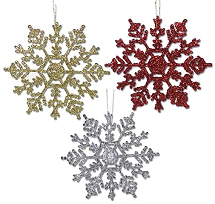 banberry designs snowflake christmas ornaments 36 pack assorted colors of sparkly snowflakes 12