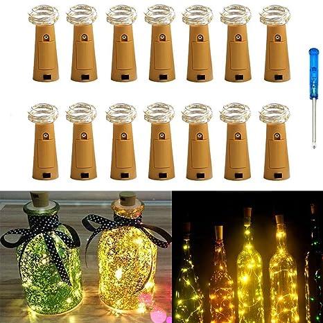 IBanana Lote de 14 luces para botellas, forma de corcho, 20 microLED, tira de 2 metros, con destornillador, para fiesta, cumpleaños, Navidad, boda, ...