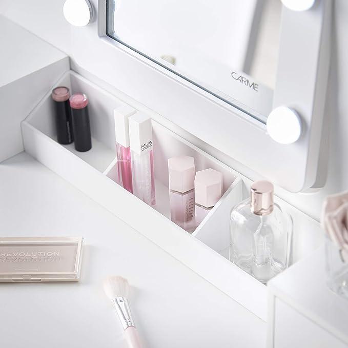 Tavoletta bianca con specchio Hollywood 10 lampadine LED luci 5 cassetti sgabello Set Carme Arianna Deluxe
