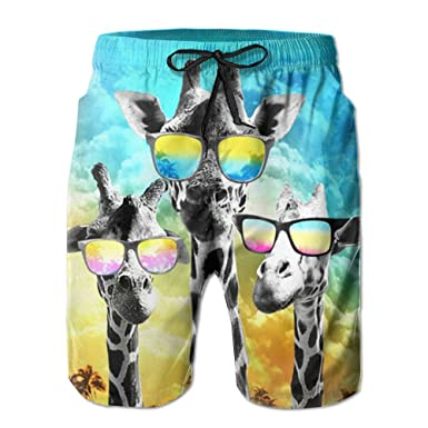 469f52858ef Amazon.com  Kash NY Crazy Cool Giraffe Mens Fashion Surf Board Beach Home Shorts  Swim-trunks Quick Dry With Pocket  Clothing