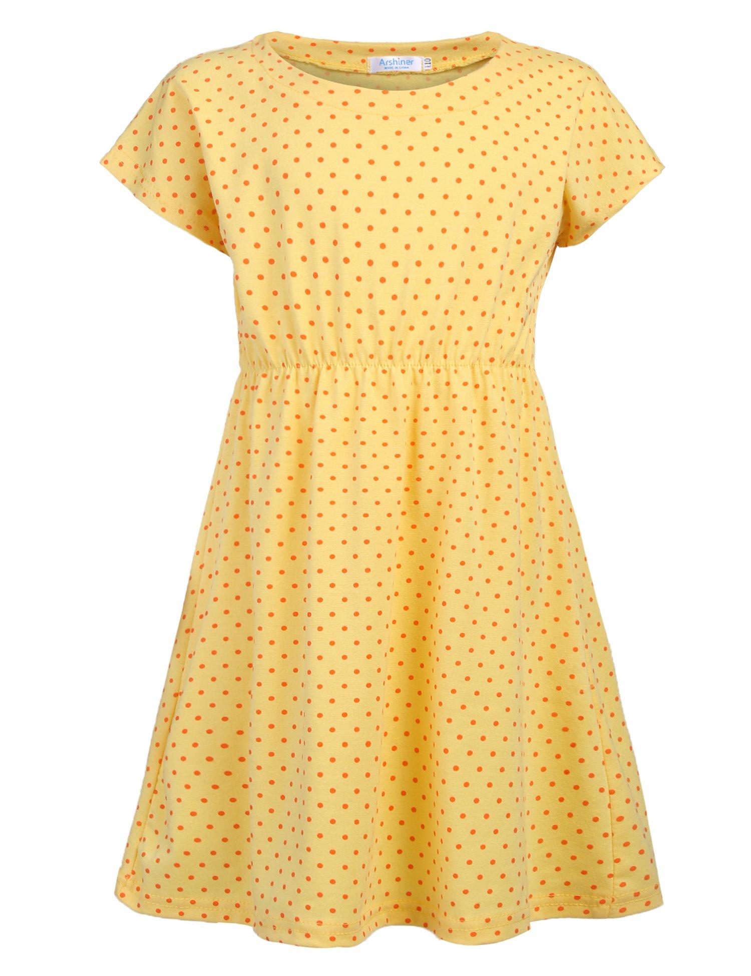 Arshiner Kids Girls Dress Small Polka Dots Summer Short Sleeve Casual Style Size 3-10