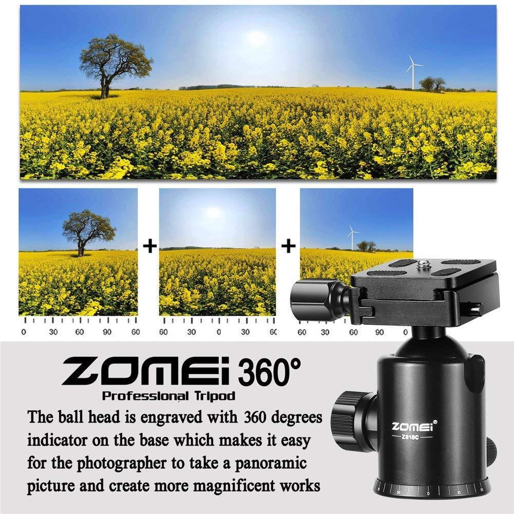 Zomei Z818 Tr/ípode de 65 port/átil c/ámara compacta de aluminio y magnesio desmontable Monopod profesional Z818,AZUL Aluminio