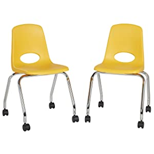 """FDP 18"""" Mobile School Chair with Wheels for Kids, Teens and Adults; Ergonomic Seat for in-Home Learning, Classroom or Office - Yellow (2-Pack)"""
