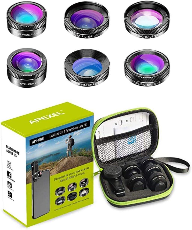 عدسات الجوال 6 في 1-6 in 1 Phone Camera Lens Kit Wide Angle Lens + Macro Lens + Fisheye Lens + ND Filter+ CPL/Star Filter Clip-On Phone for iPhone 8/x 7/Plus Samsung S8 Android Smartphones.