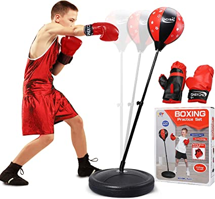 Kids Adults Adjustable Boxing Set Standing Punch Bag Training With Gloves