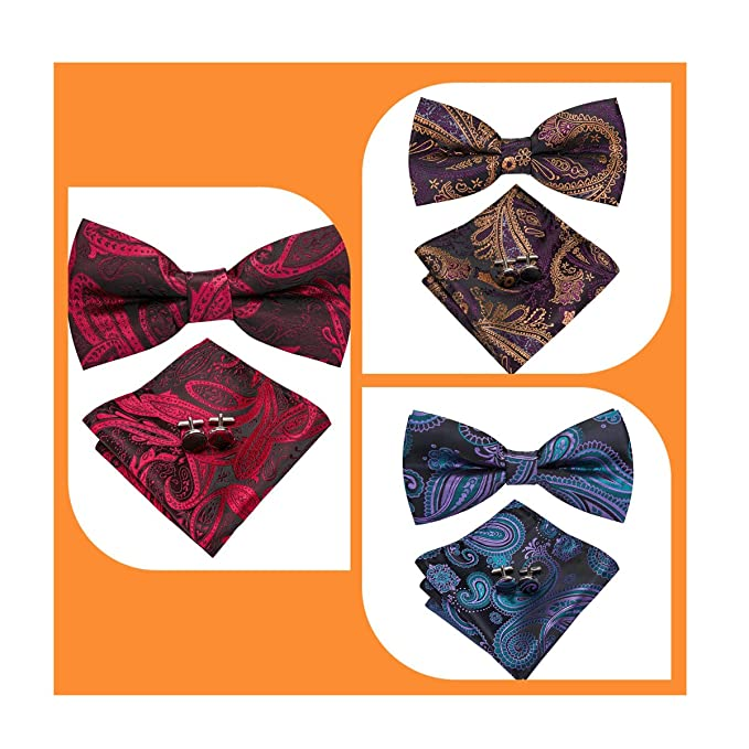 4defe9e6578a Amazon.com: Dubulle 3Packs Paisley Bow Ties for Men Pre Tied Blue Purple  Red Bowtie and Pocket Square Cufflinks Silk Ties: Clothing