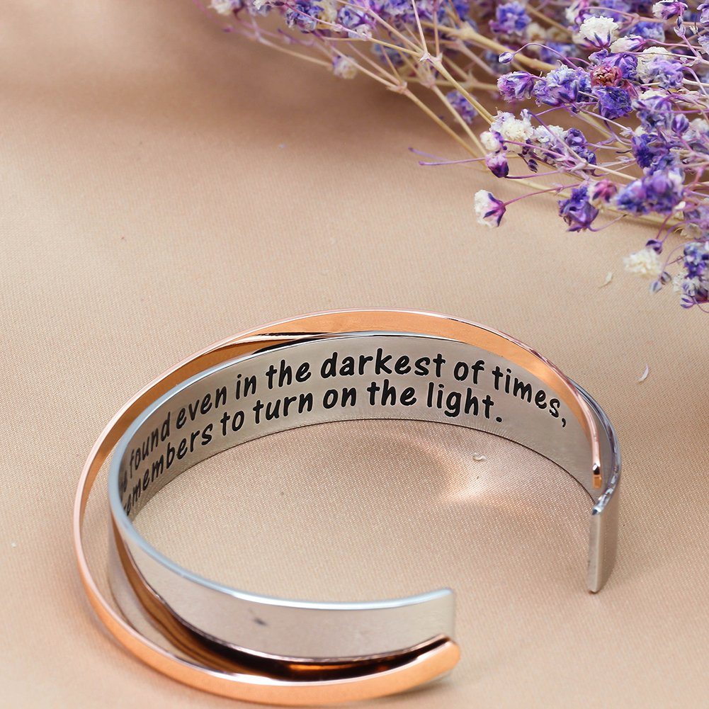 Ms. Clover Encouragement Gift, Happiness Can be Found Even in The Darkest of Times, If One Only Remembers to Turn On The Light. Message Cuff (Grey) by Ms. Clover (Image #6)