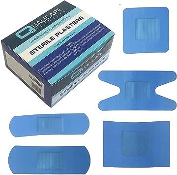 Qualicare azul Detectable resistente al agua tiritas (caja de 100): Amazon.es: Salud y cuidado personal