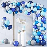 LDFWAYAU Blue White Gray Confetti Foil Stars Balloons Arch Garland Kit 154Pcs Balloons for Birthday Baby Shower Wedding…