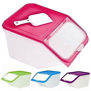 meilleure sélection d5b28 9215d Grande boîte en plastique avec pelle pour aliments secs, céréales,  nourriture pour chat/chien 3,5 L