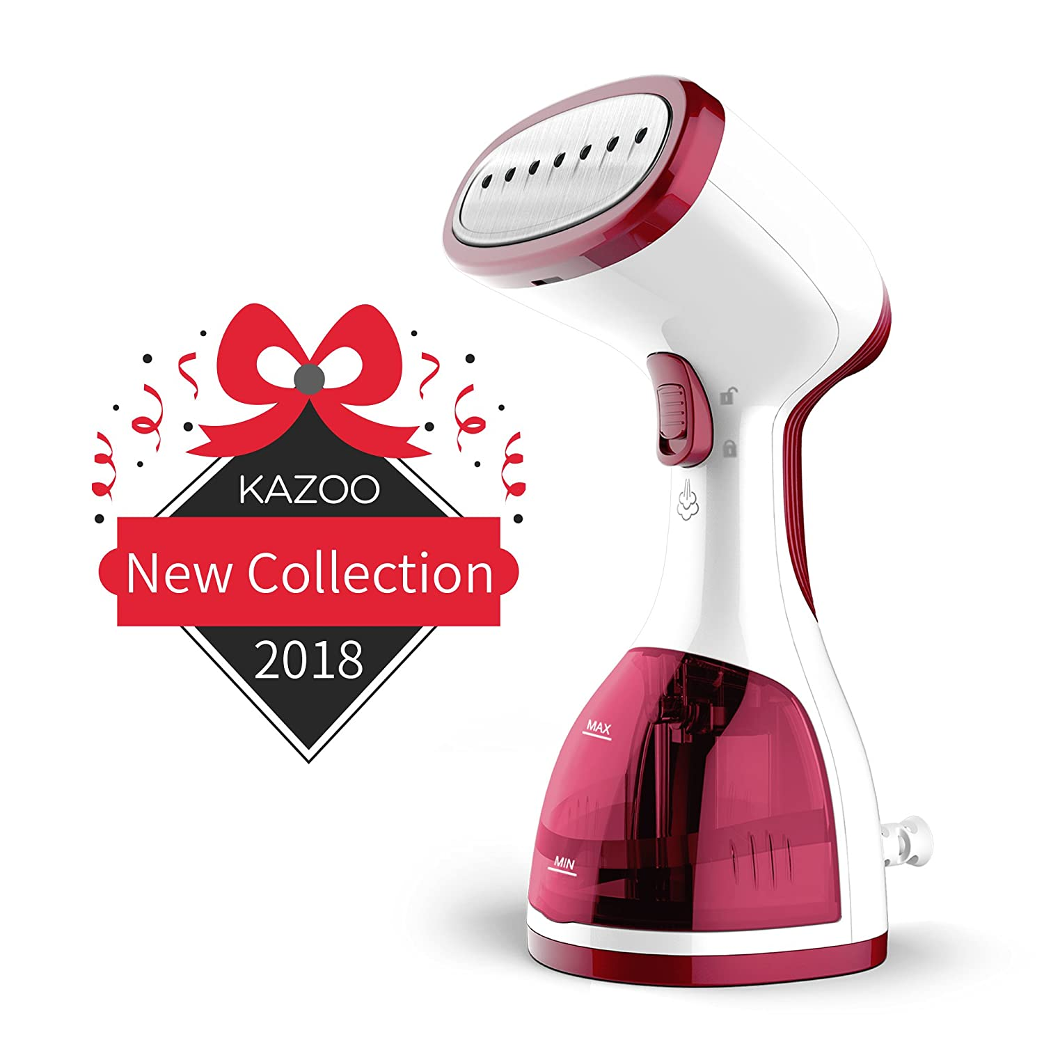 Kazoo Handheld Clothes Steamer - Travel Garment Steamer for Clothes - Portable Fabric Steamer Fast Heat up Powerful with 260ml Large Capacity - Instant Steam Iron Perfect for Traveling, Home and Gift QH03-RED