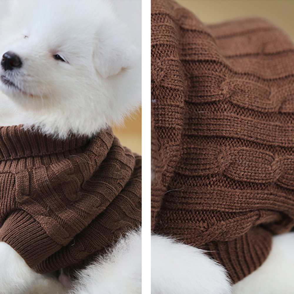 Beige ubest Pet Sweater Warm Jumper Dog Cat Twist Striped Sweater Coat Hoodies in Autumn Early Winter Puppy Jacket Dogs Clothes XS