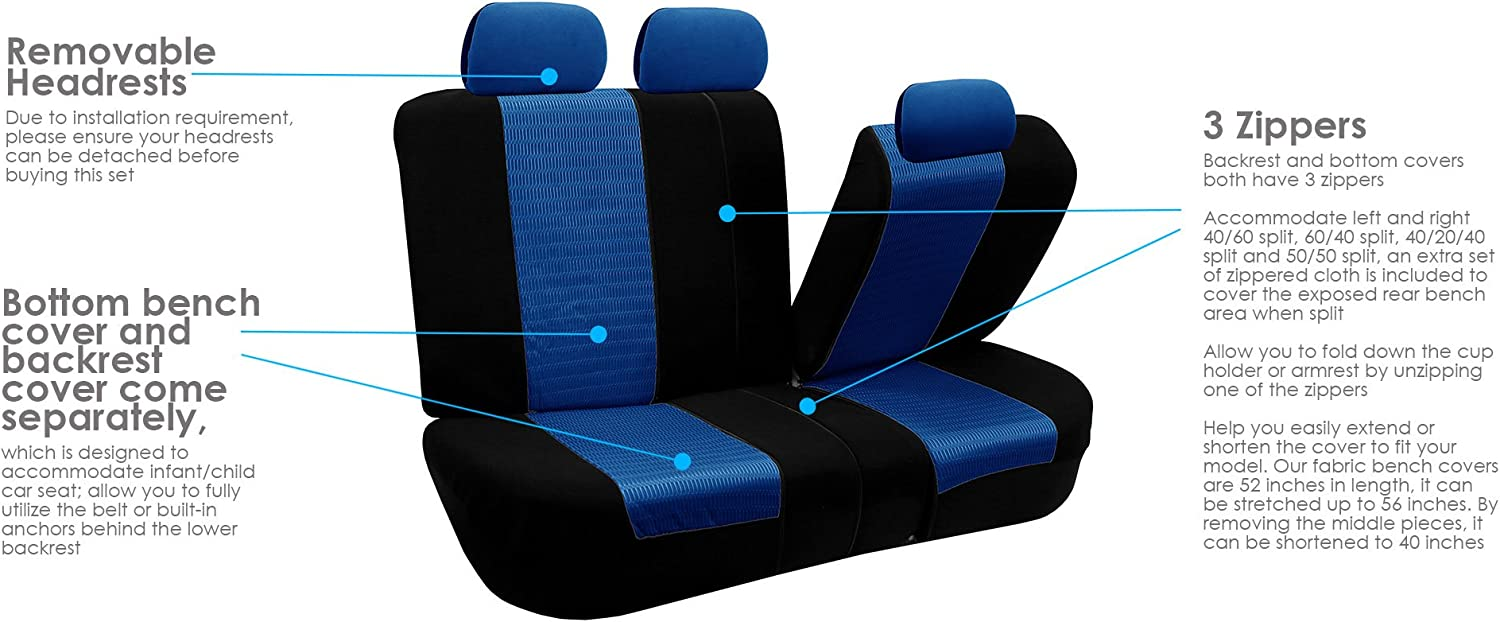 Black color Blue Airbag compatible and Split Bench FH-FB060115 Trendy Elegance Car Seat Covers