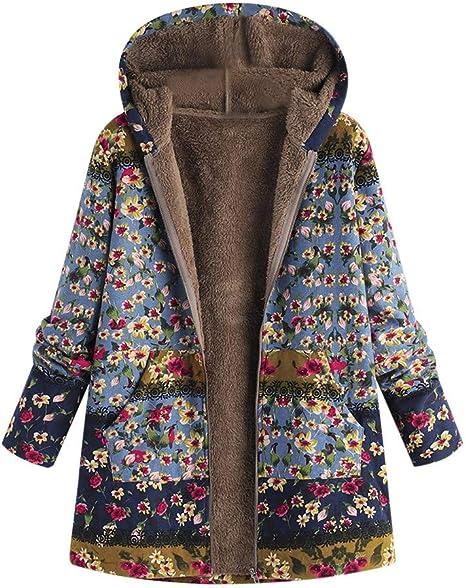 VJGOAL Para Mujer de Invierno más el tamaño de la Moda Casual Warm Thicken Outwear Estampado Floral Bolsillos con Capucha Vintage Abrigos de Gran tamaño(XXXX-Large,Azul)