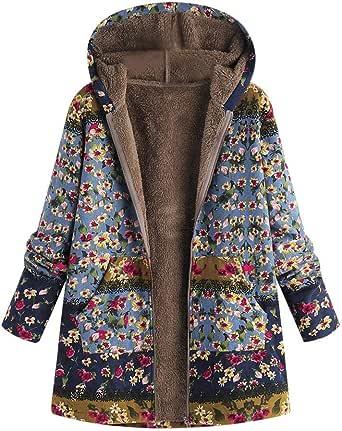 Toimoth Womens Winter Warm Floral Print Hooded Pockets Zipper Coats Ladies Vintage Fleece Coats Outwear Oversize