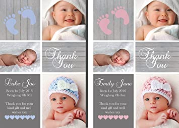 Premium Personalised New Baby Photo Thank You Cards Boy Girl Birth