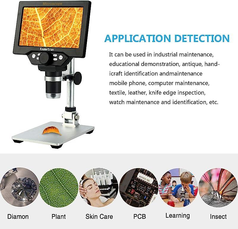 7 inch LCD Digital USB Microscope,Koolertron 12MP 1-1200X Magnification Handheld Camera Video